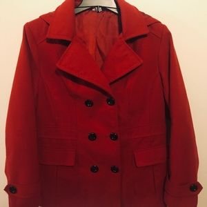 George Red Hooded Pea Coat